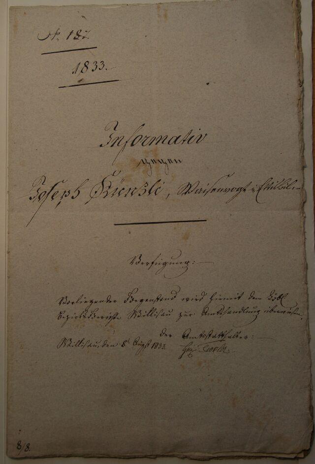 Informativ gegen Waisenrat Joseph Künzli 1833