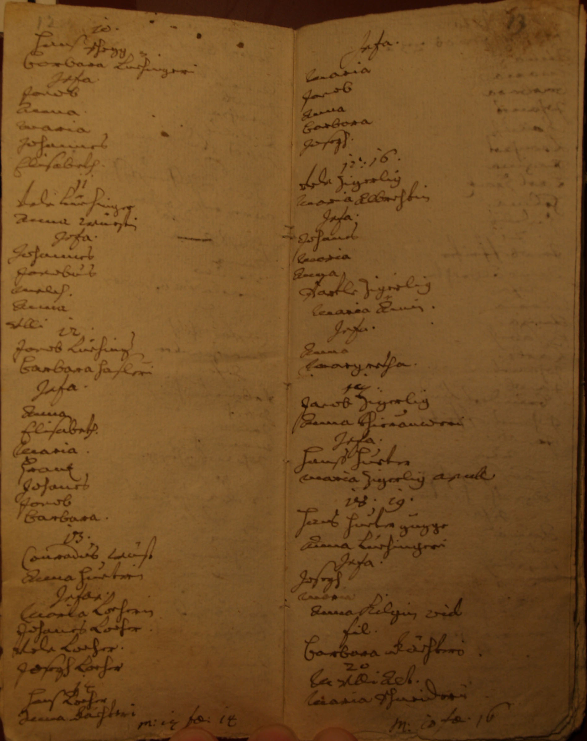 Familienbuch Montlingen, Seiten 12 und 13