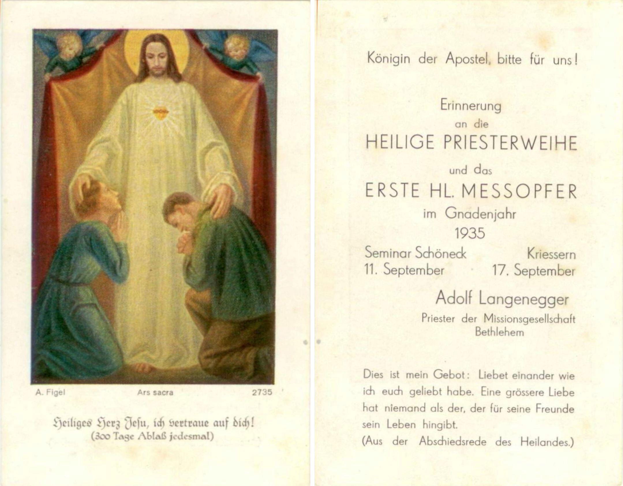 Heiligenbildchen; Adolf Langenegger 1935