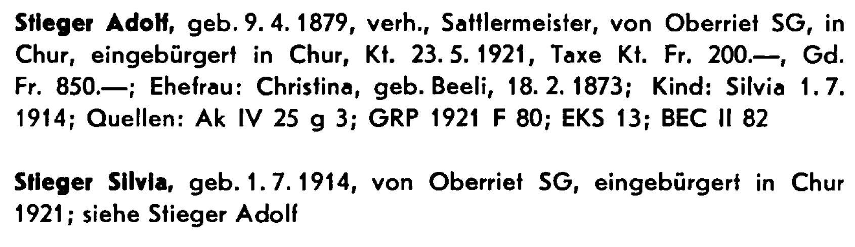 Adolf Stieger 1879-1921