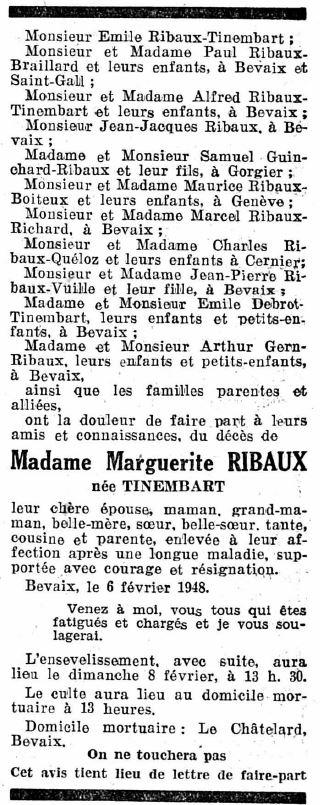 Margueriet Ribaux-Tinembart - Todesanzeige 7. Februar 1948