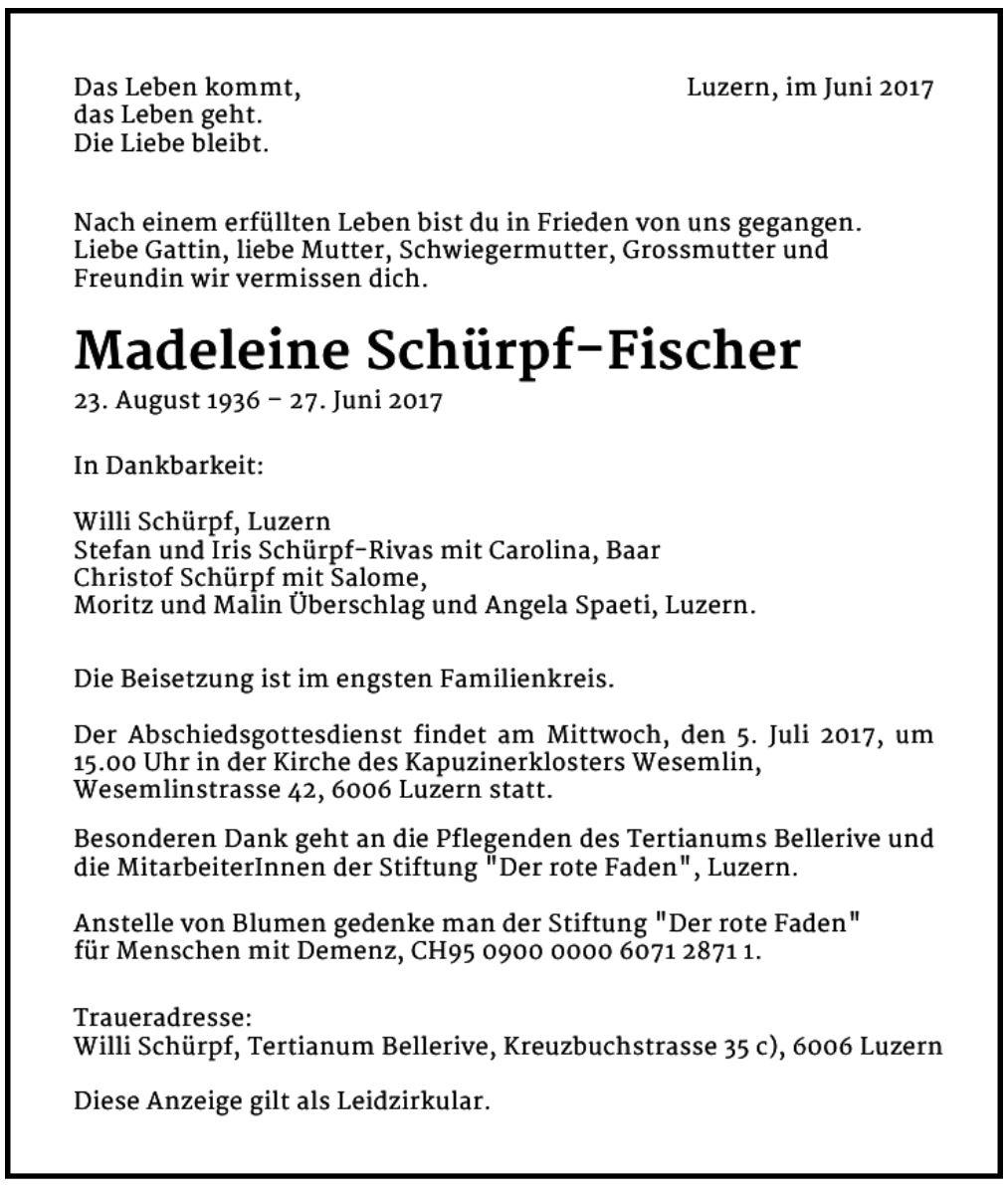 Madeleine Schürpf-Fischer