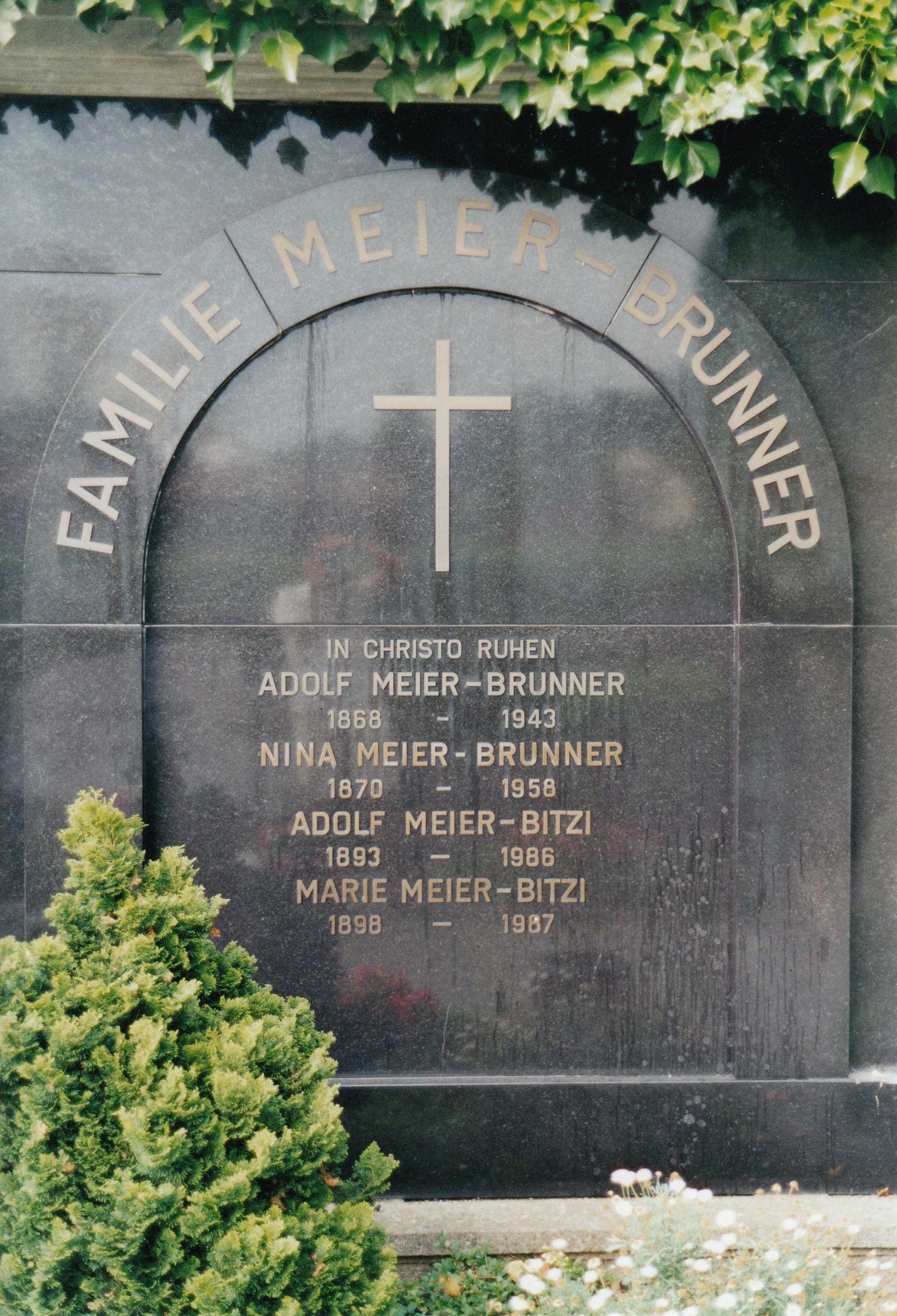 Grabstein Marie und Adolf Meier-Bitzi