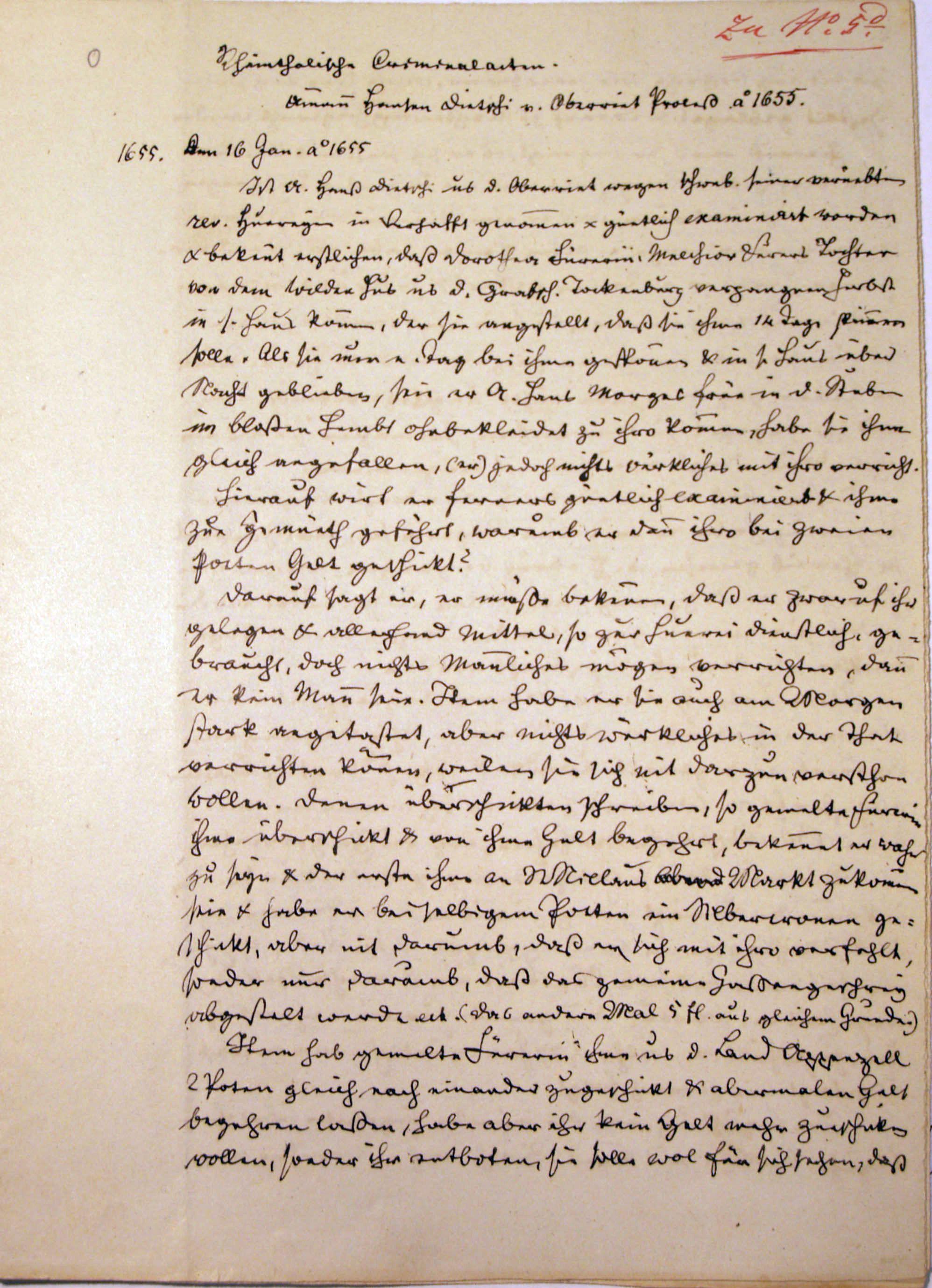 Malefizgericht Amman Hans Dietschi (1655) p. 1