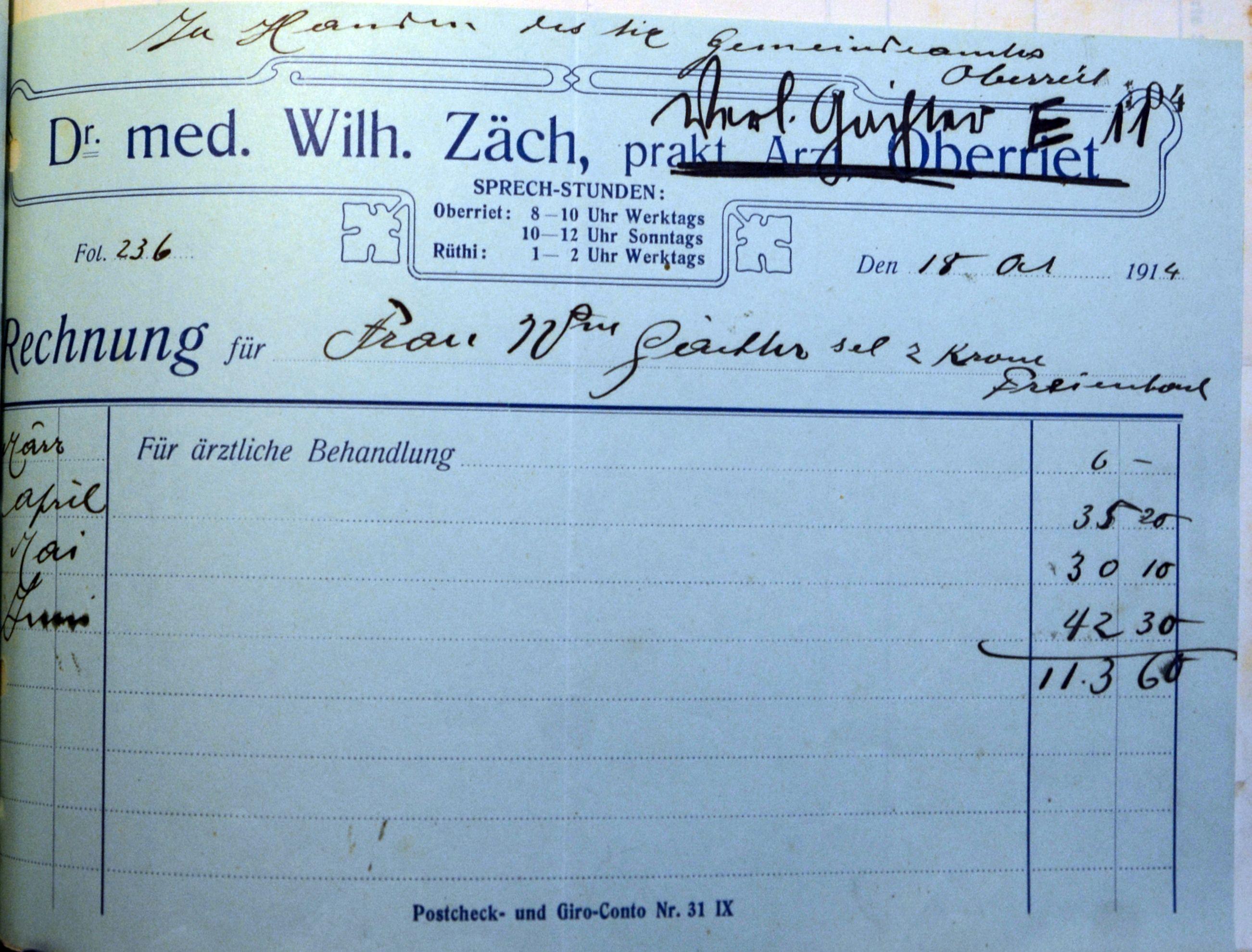 Rechnung an Wittwe Gächter von Dr. Wilhelm Zäch