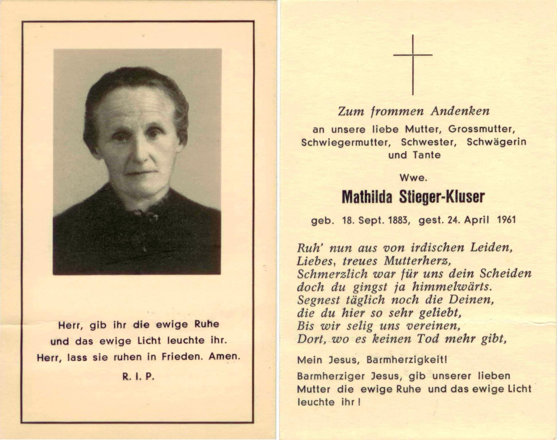 Mathilda Stieger-Kluser (1883-1961)