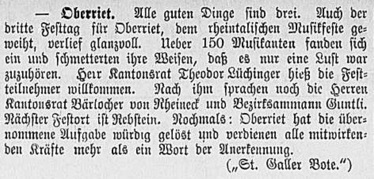 Musikfest Oberriet 1893