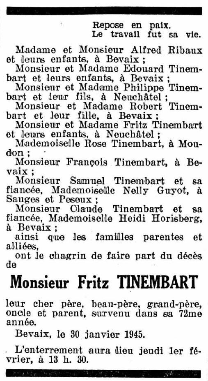Fritz Tinembart - Todesanzeige 31. Januar 1945