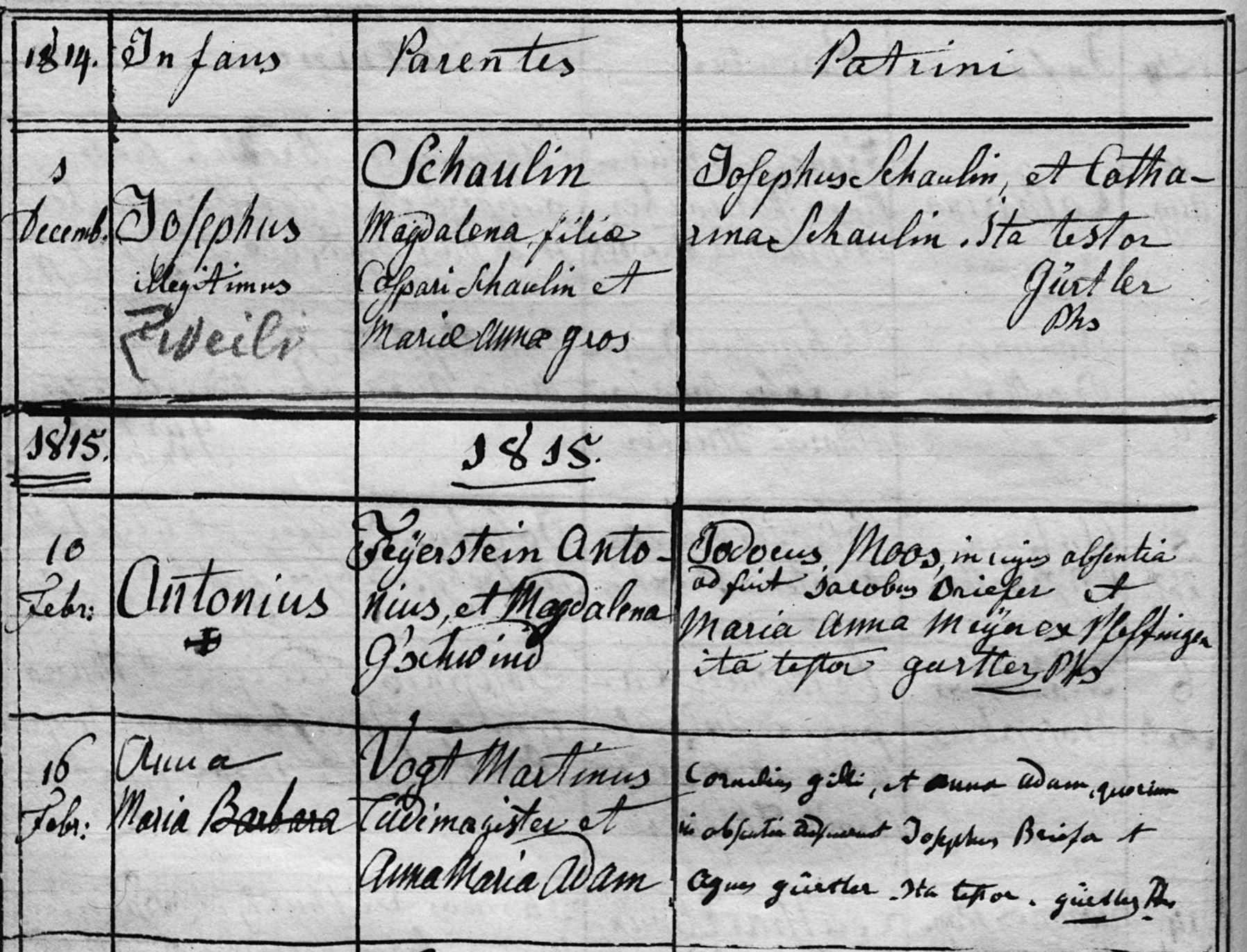 Anna Maria Lüchinger-Vogt (Taufe in Arlesheim)