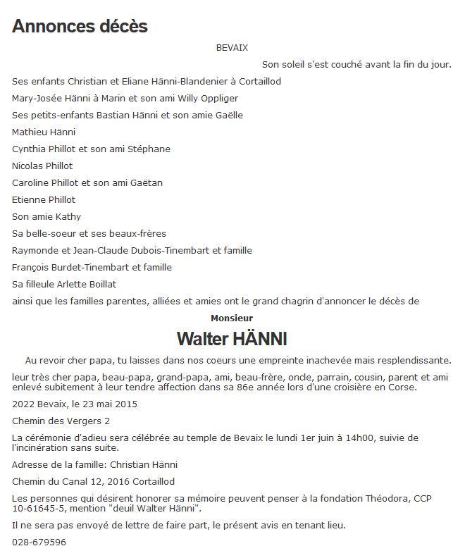 Walti Hänni 1929-2015