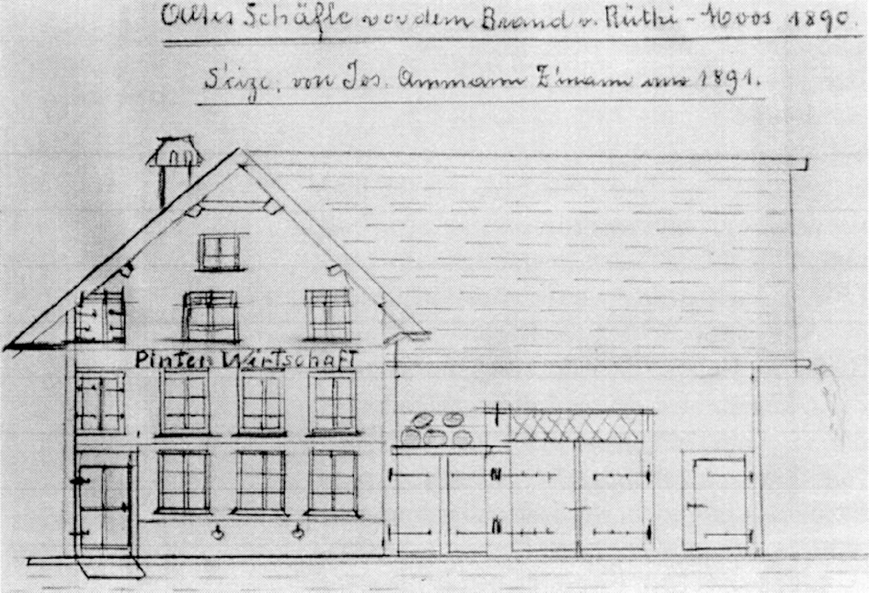 Altes Schäfle vor dem Brand von Rüthi-Moos 1890