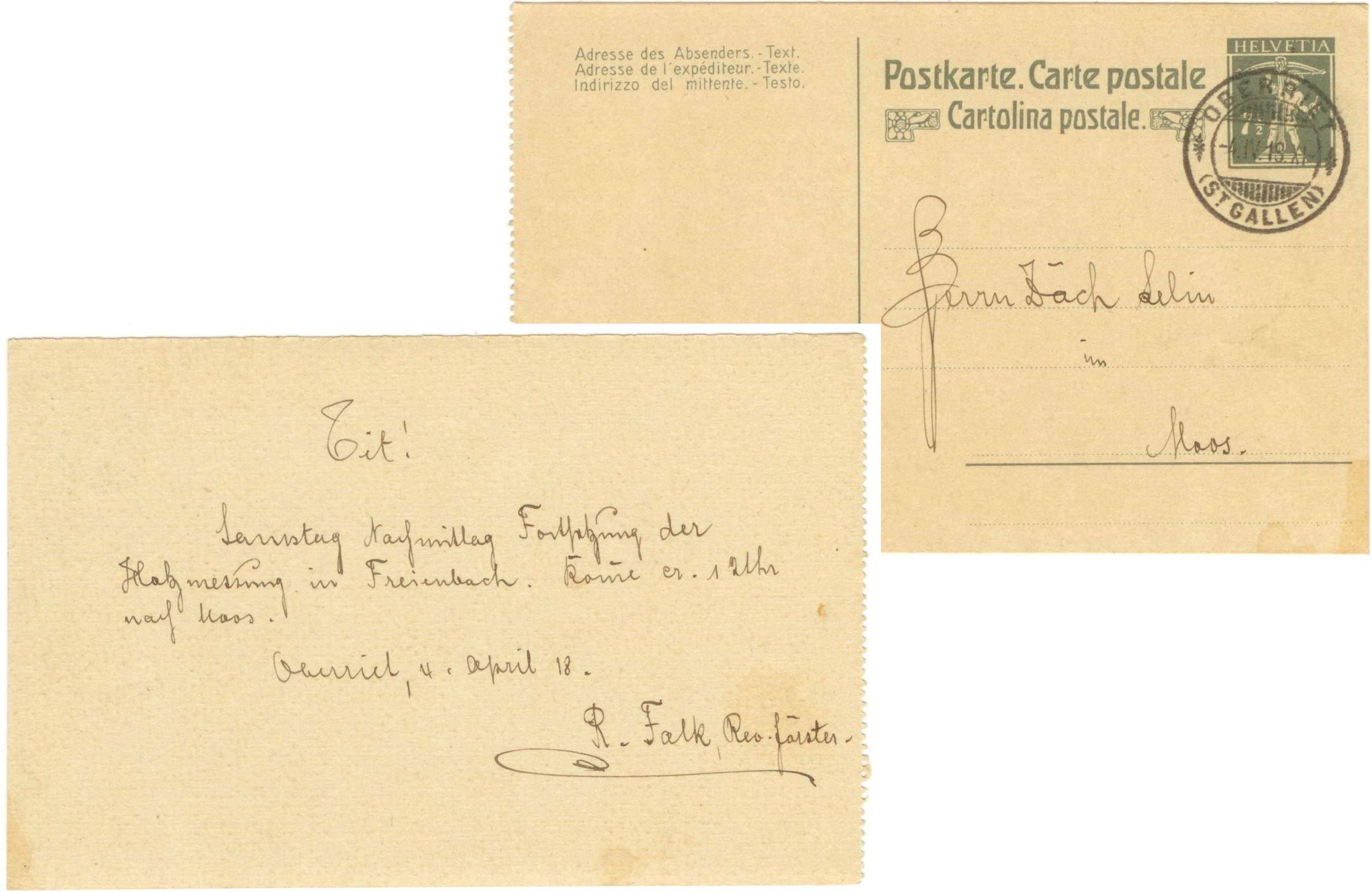 R. Falk, Revierförster, Oberriet (1918)