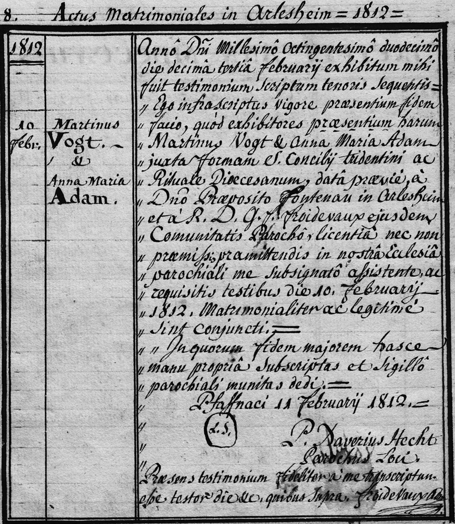 Martin Vogt und Anna Maria Adam (Ehe in Arlesheim)