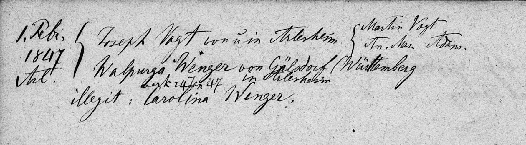 Joseph Vogt (Ehe 1847 in Arlesheim)