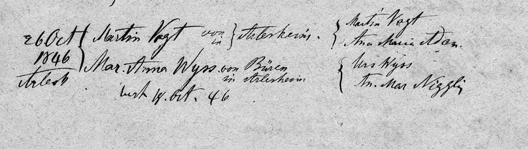 Martinus Pacificus Vogt (Ehe in Arlesheim)