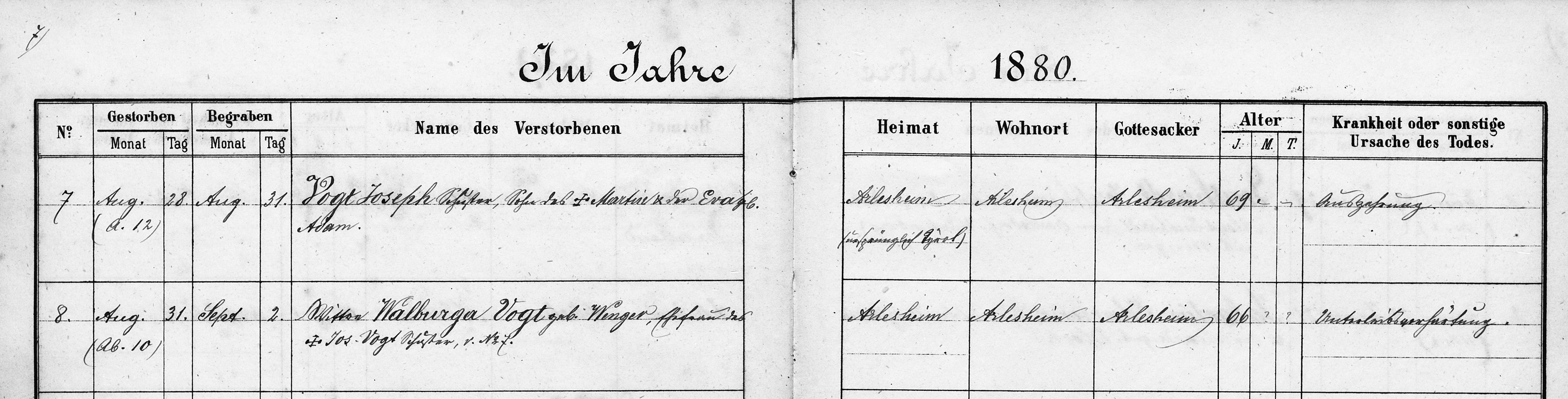 Walburga Vogt-Wenger (Tod 1880 in Arlesheim)