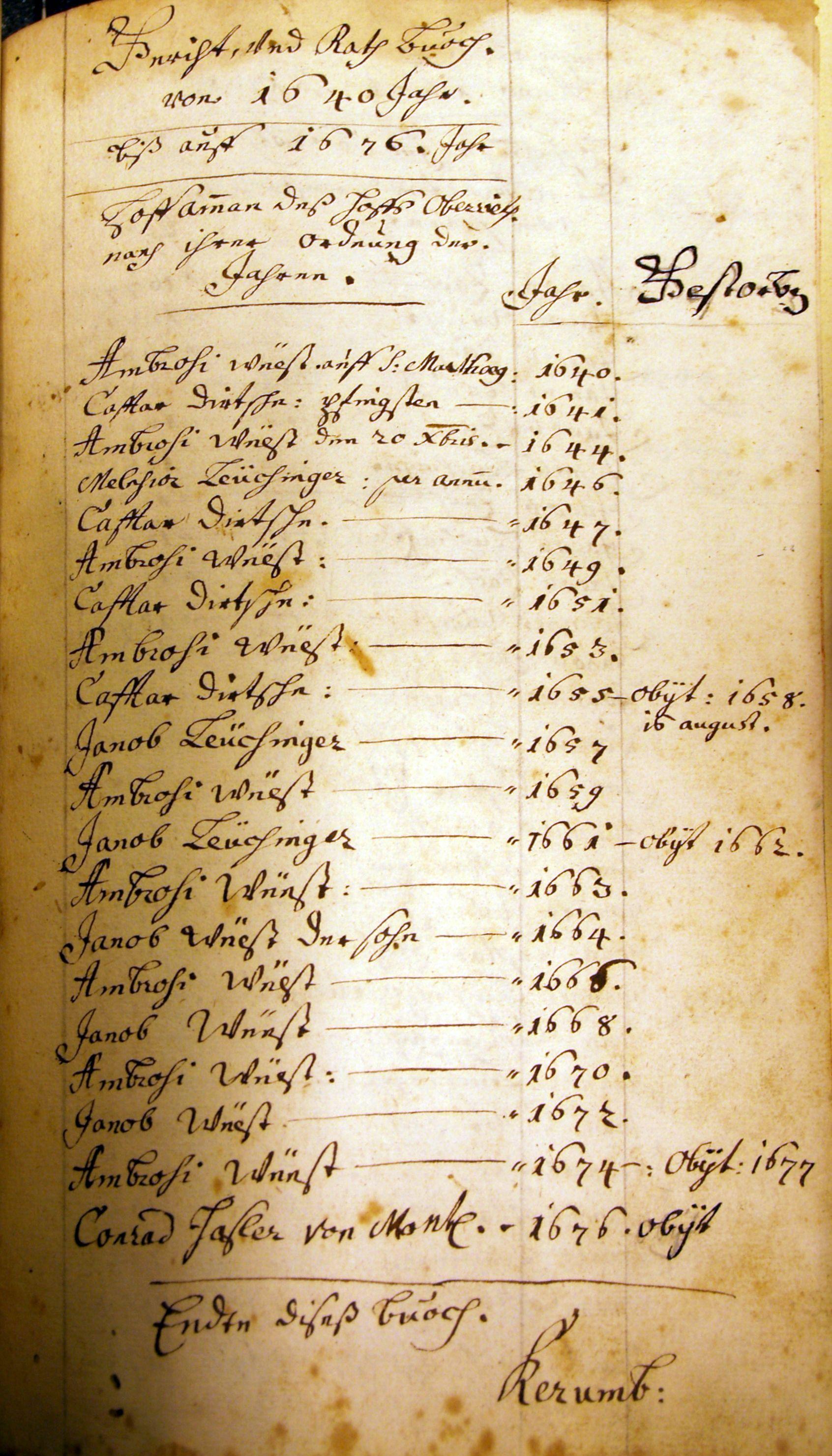 Caspar Dietsche - Hofammann 1655-1657