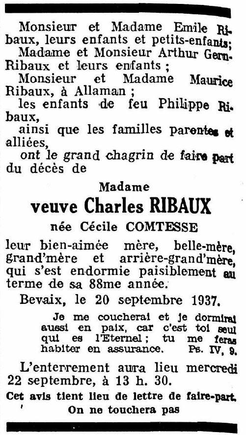 Cécile Ribaux-Comtesse († 1937)