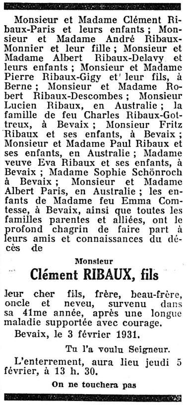 Léon Clément Ribaux (1890-1931)
