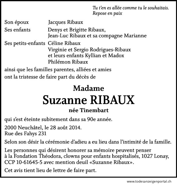 Suzanne Ribaux-Tinembart
