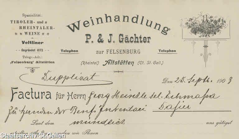 Weinhandlung P. & J. Gächter 1903