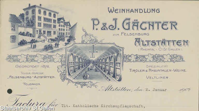 Weinhandlung P. & J. Gächter 1907