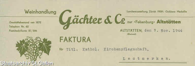 Weinhandlung P. & J. Gächter 1944