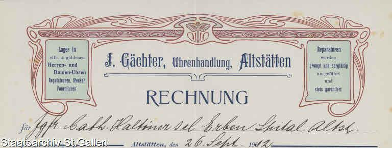 Briefkopf J. Gächter