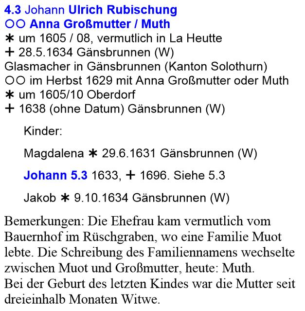 Ehe Johann Ulrich Rubischung mit Anna Muoth