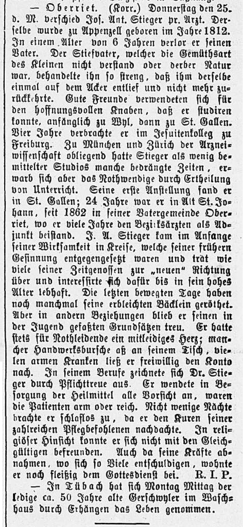 Joseph Stieger, Arzt (1812-1883)