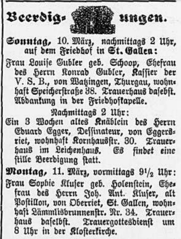 Sophie-Kluser-Holenstein (1843-1895)