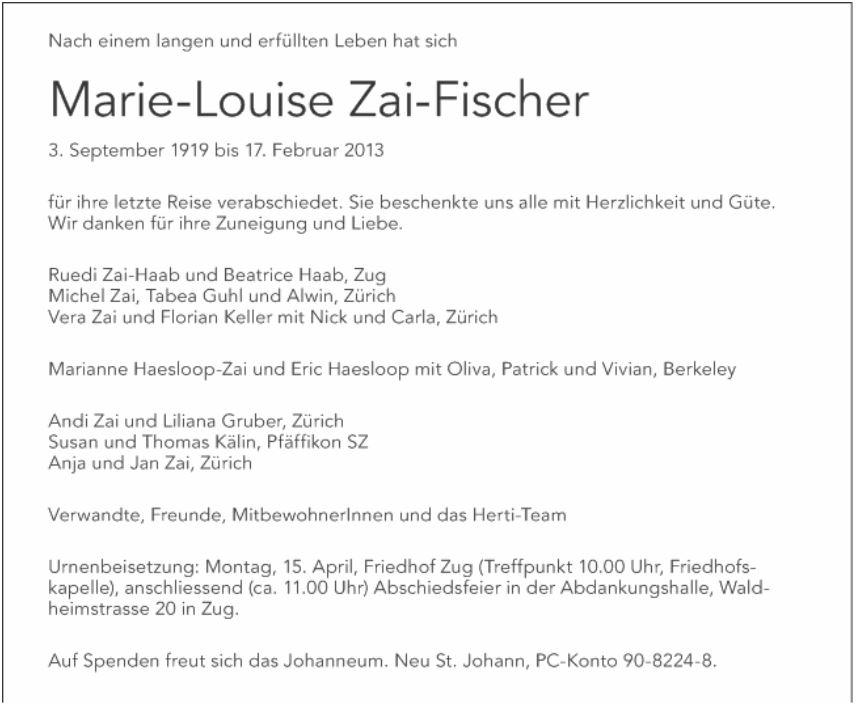 Trauerfall Zai-Fischer Marie-Louise