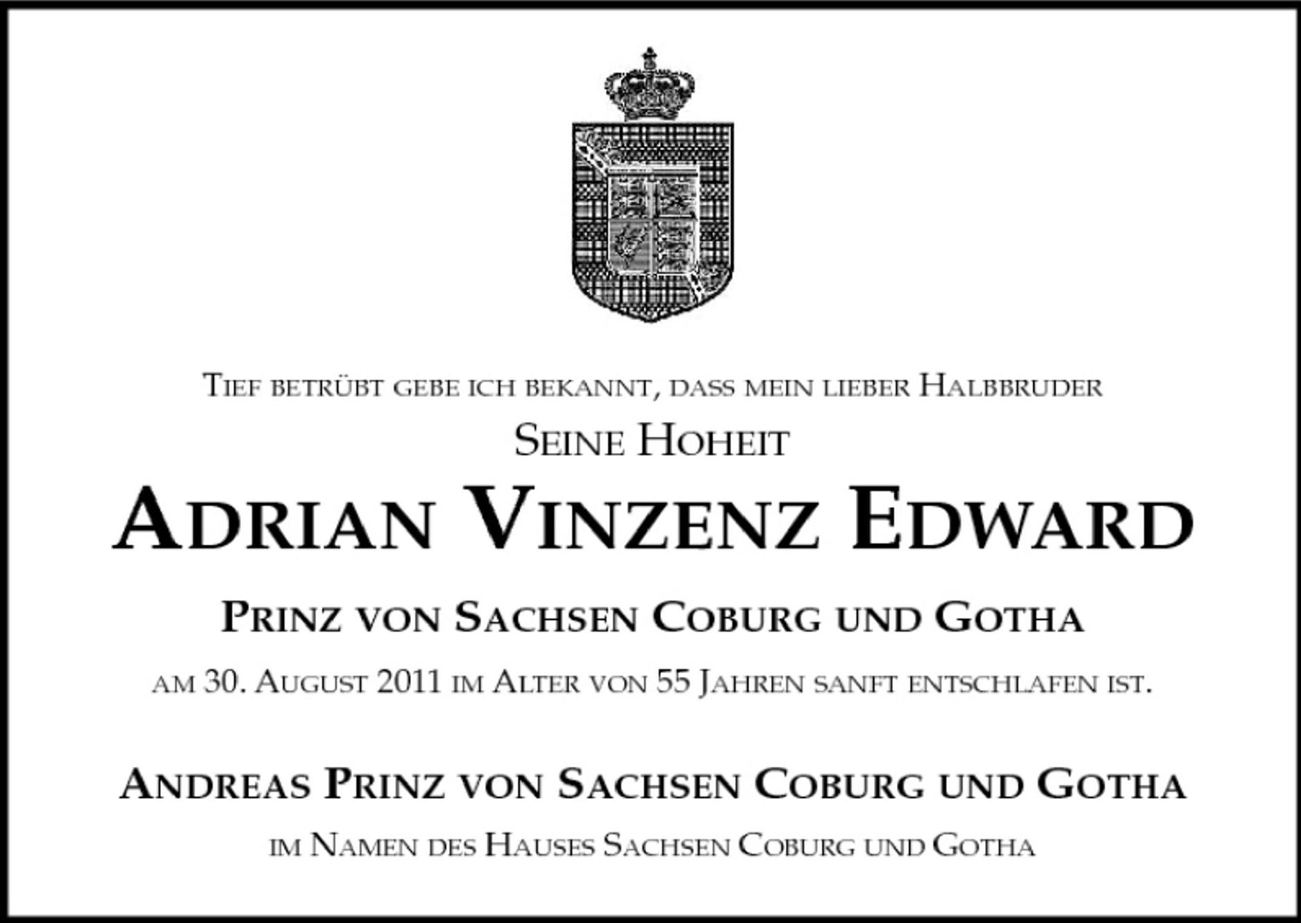 Adrian Prinz von Sachsen Coburg und Gotha