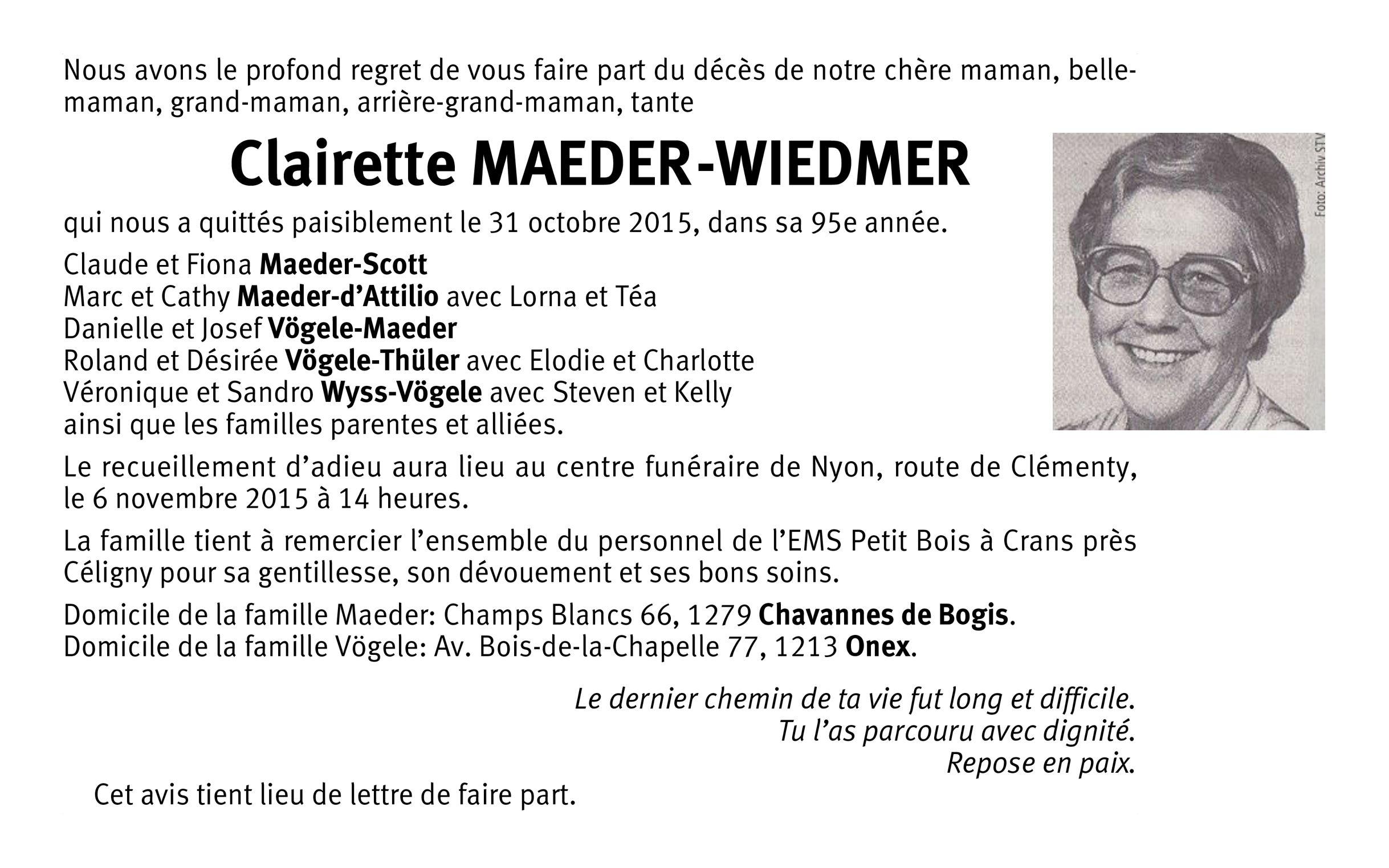 Clairette Maeder-Wiedmer (1921-2015)