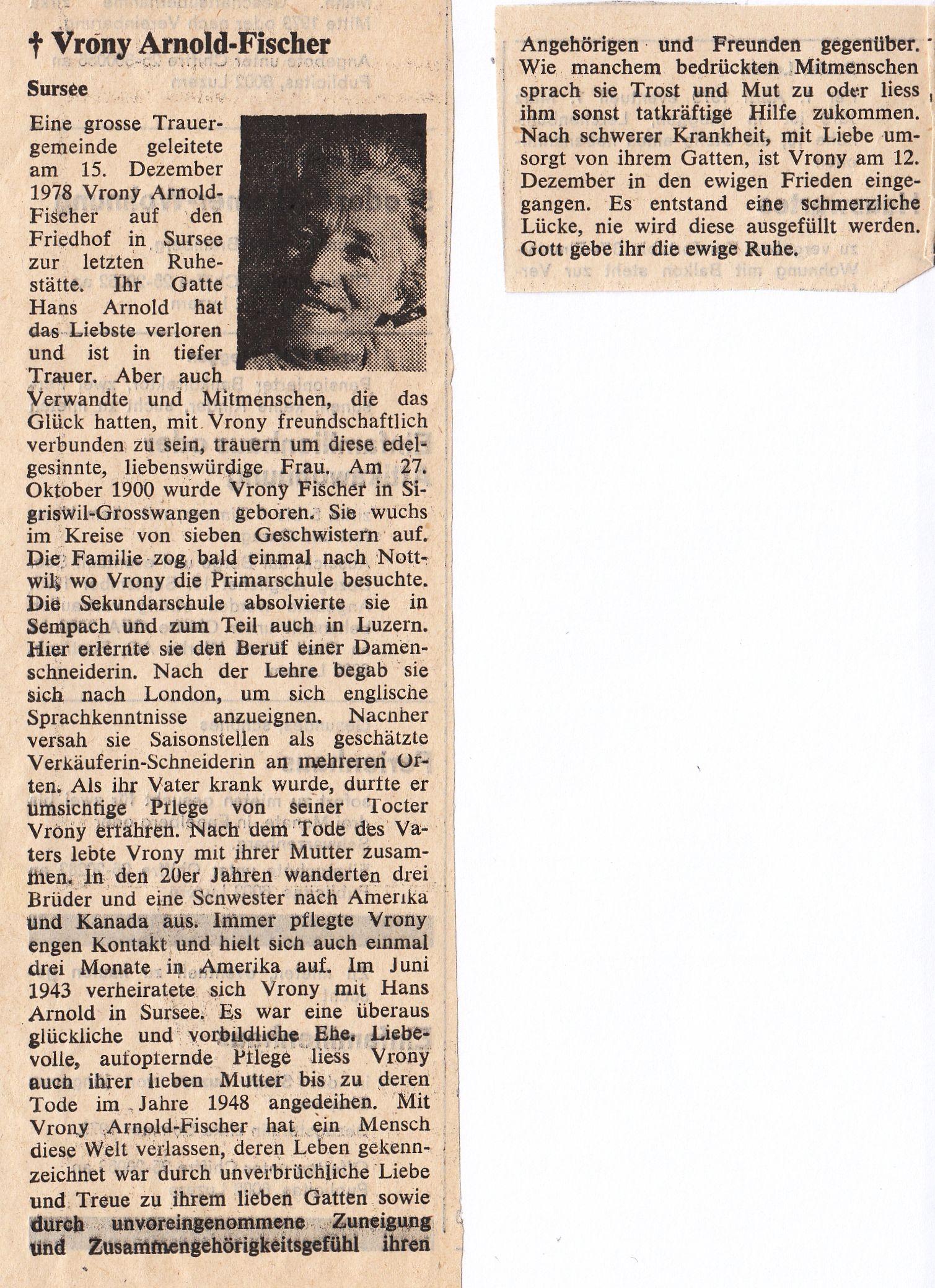 Nachruf Vrony Arnold-Fischer (1900-1978)