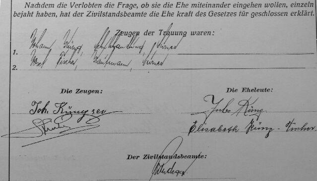 Unterschriften bei der Trauung