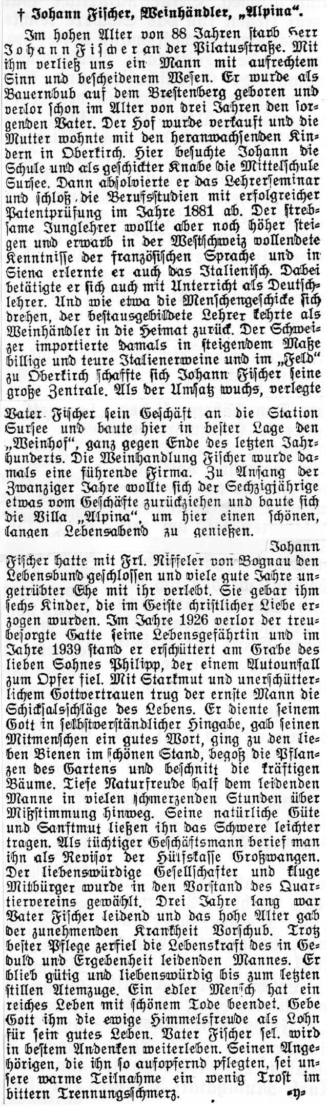 Johann Fischer - Nachruf