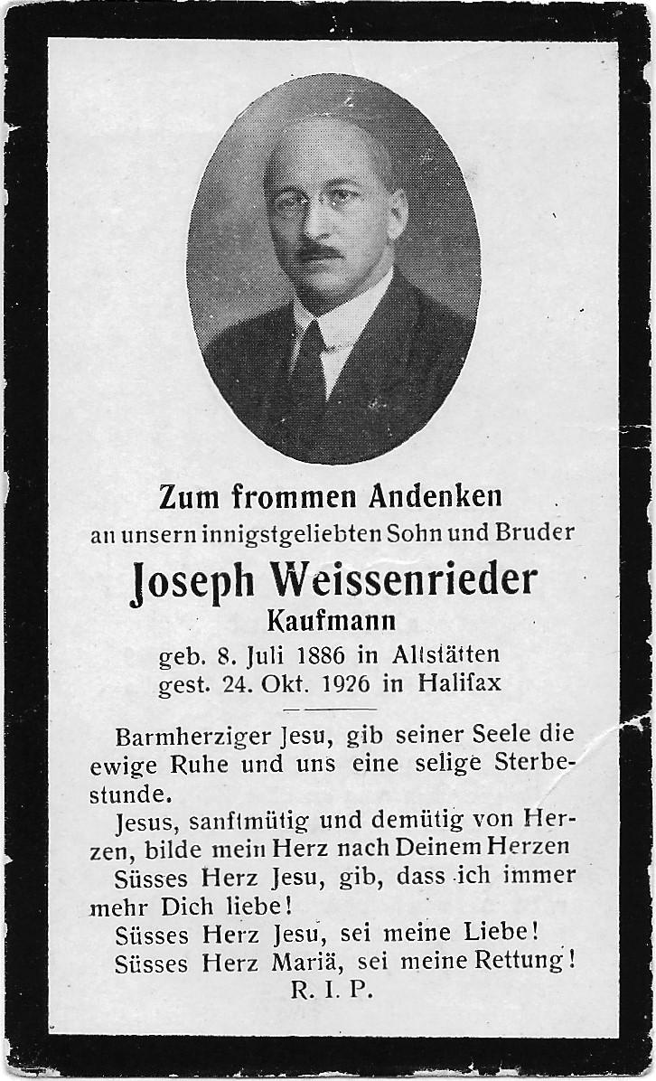 Joseph Weissenrieder (1886-1926)