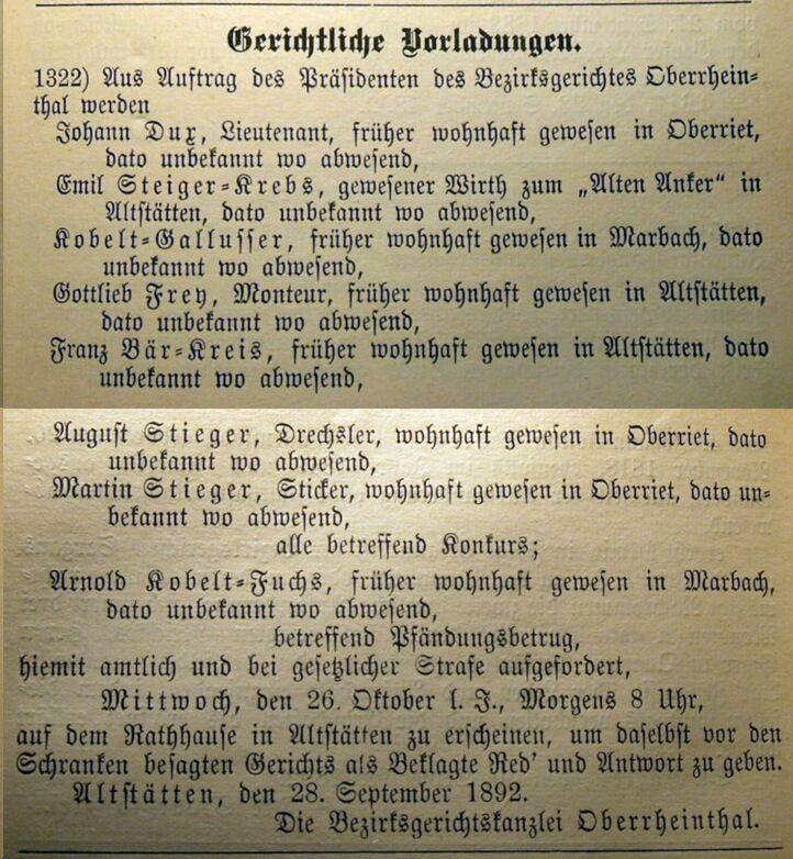 Vorladung August Stieger 1892 - Konkurs