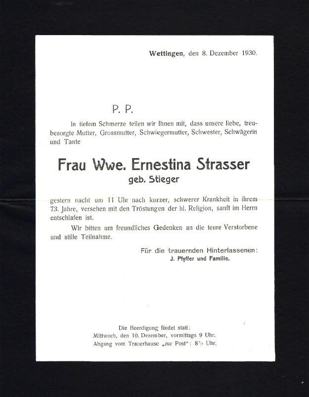 Ernestina Strasser (geb. Stieger)