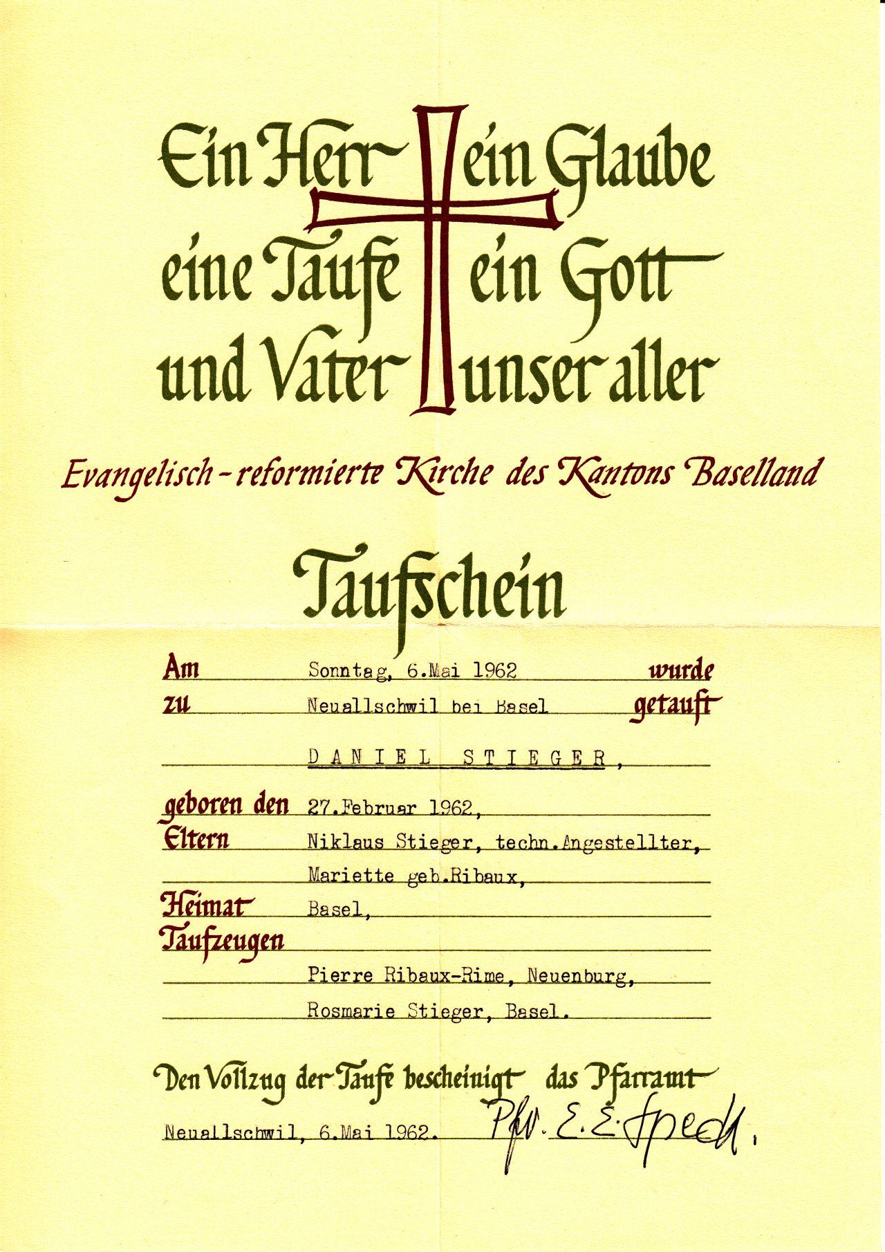 Taufschein Daniel Stieger 1962