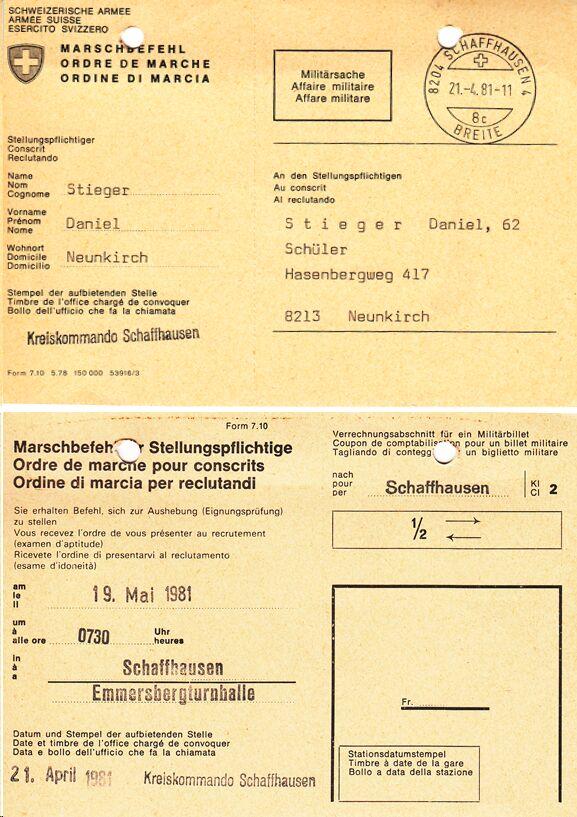 Aufgebot zum Stellen 1981