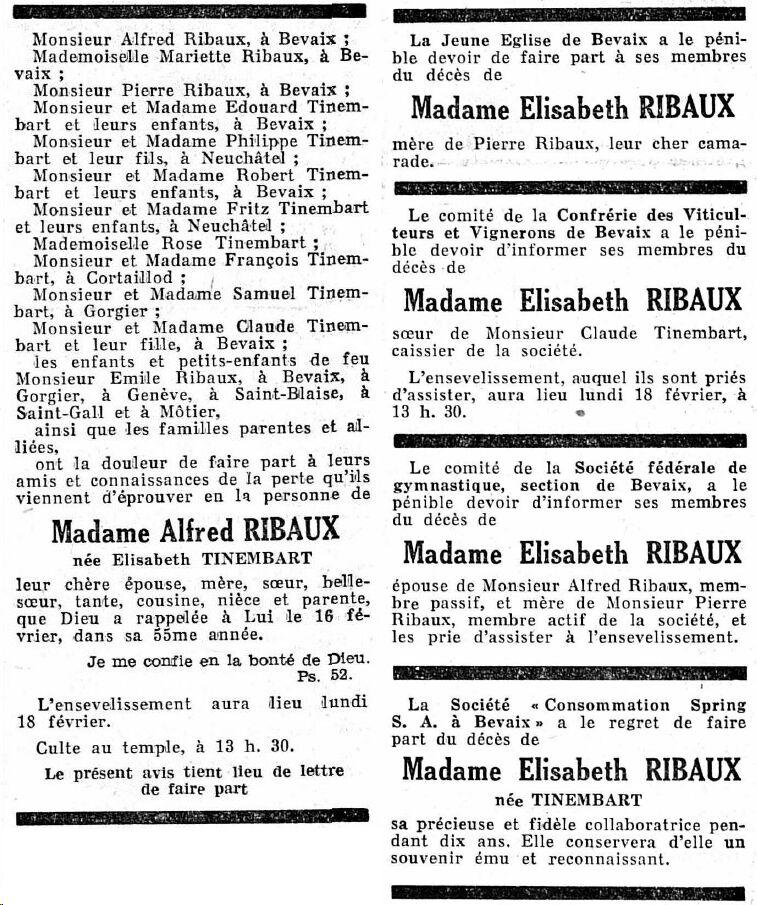 Elisabeth Ribaux - Todesanzeige 18. Februar 1952