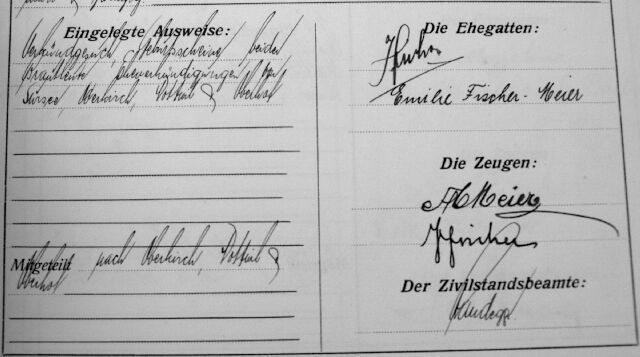 Ehe Josef Fischer und Emilie Meier