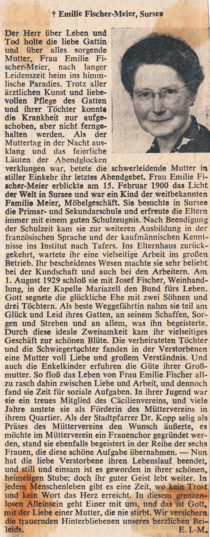 Nachruf Emilie Fischer-Meier (1900-1965)