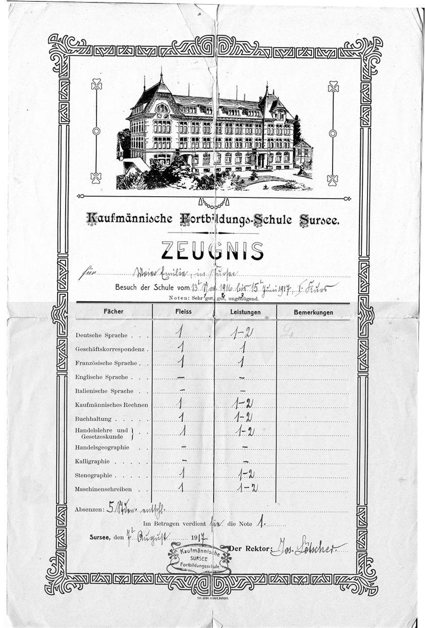 Zeugnis von der kaufmännischen Fortbildungs-Schule in Sursee (1917)