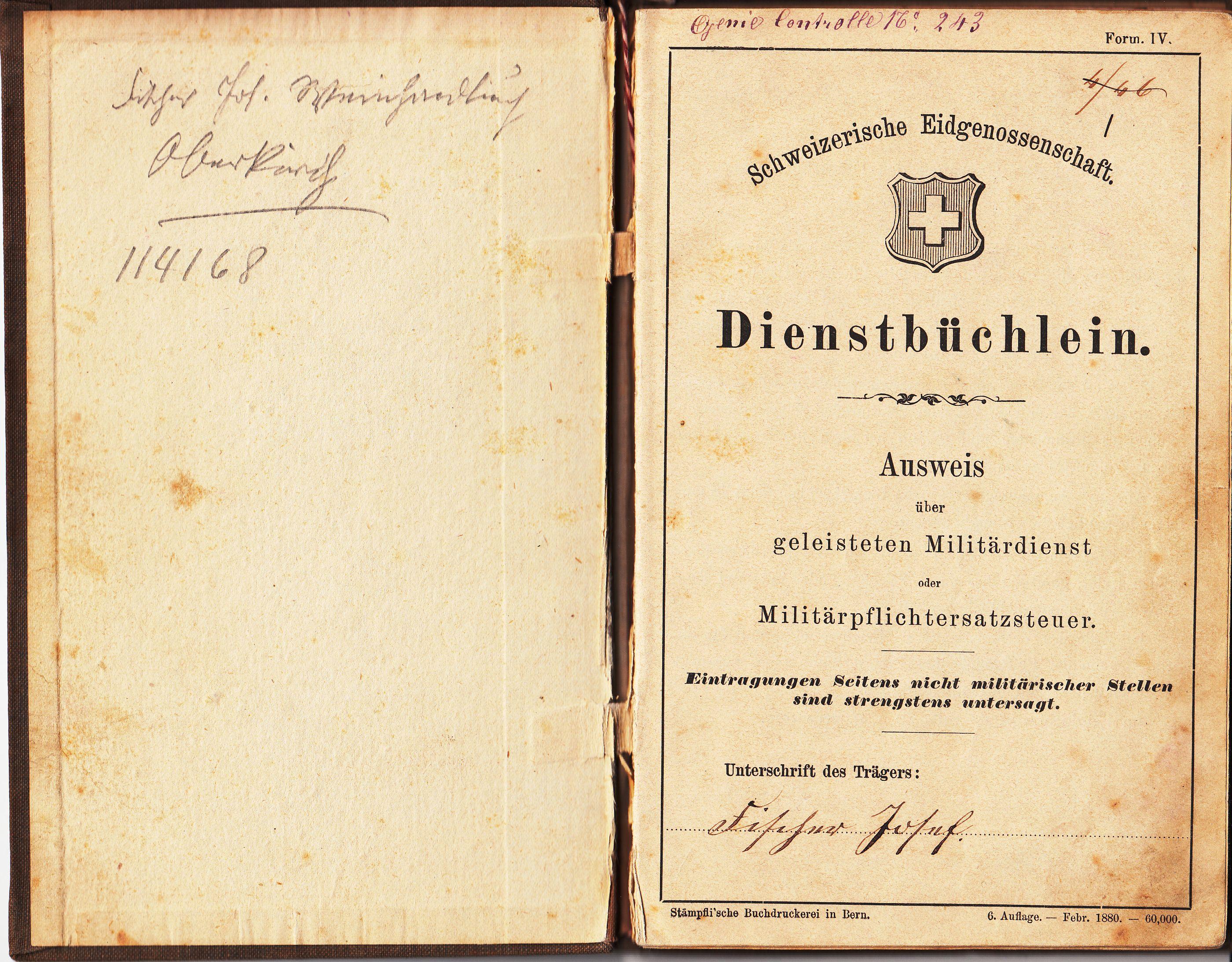 Dienstbüchlein Josef Fischer (ausgestellt 1882)