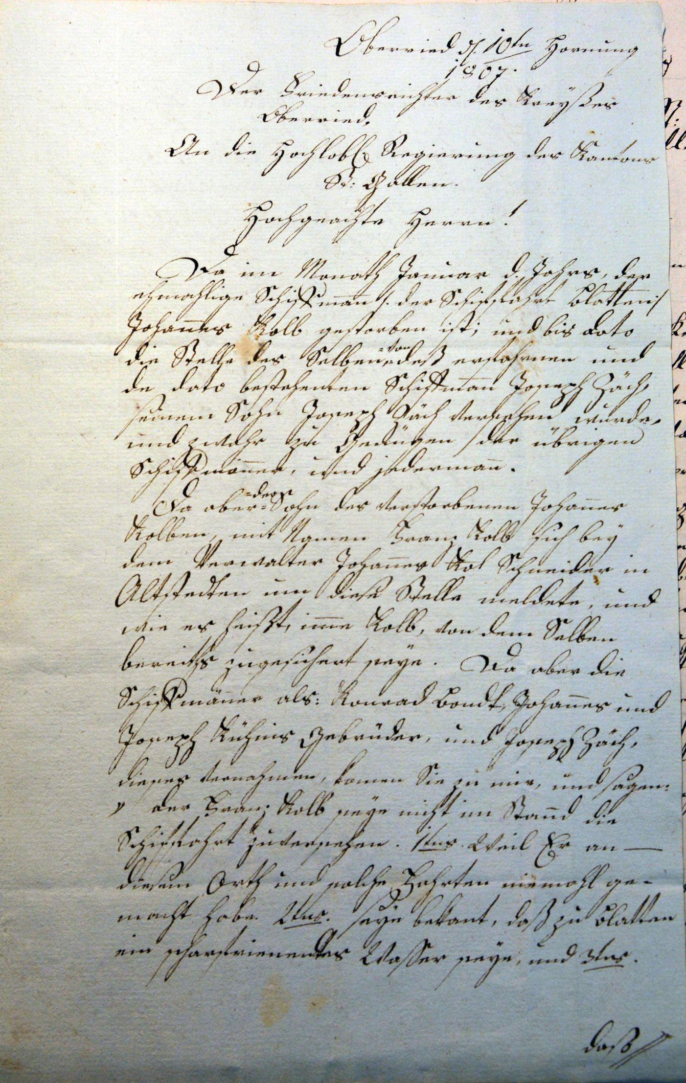 Brief an die Regierung St. Gallen betreffs Schifffahrt in Blatten (1807)