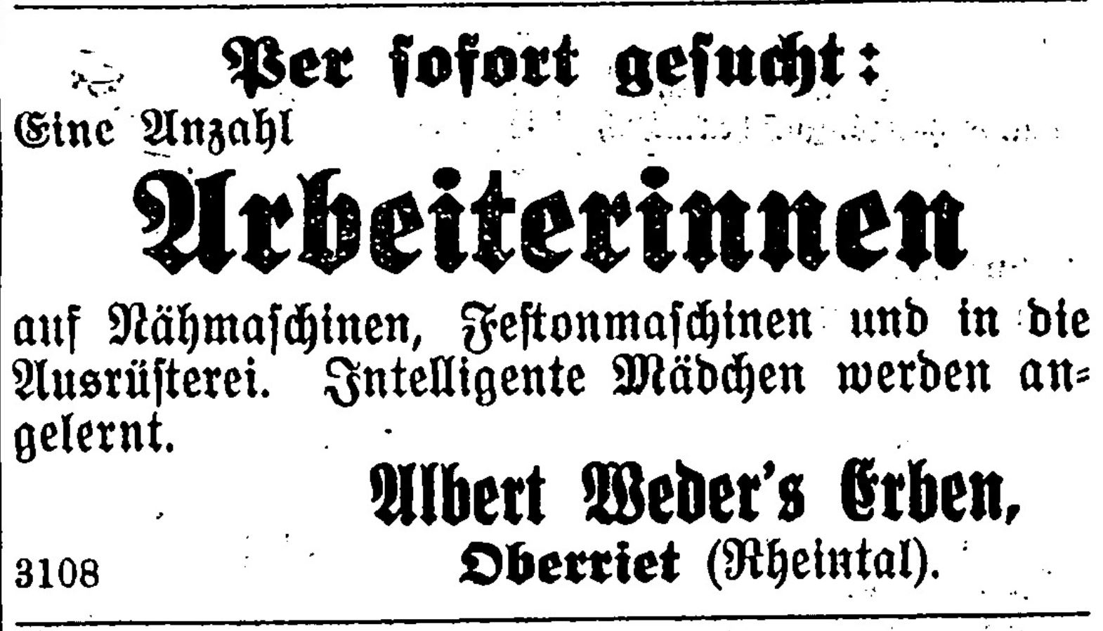 Albert Weder's Erben, Oberriet