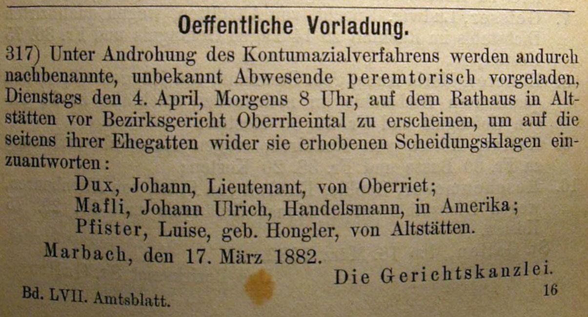 Vorladung Leutnant Johann Dux 1882 - Scheidung